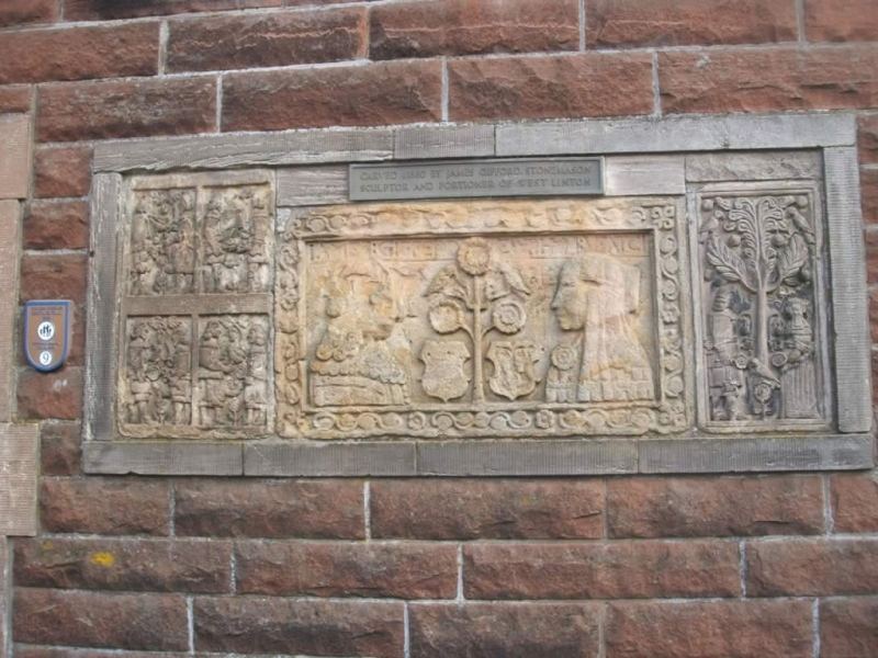 Gifford's Stone, carved around 1660 by local mason James Gifford, on a house on the Main Street